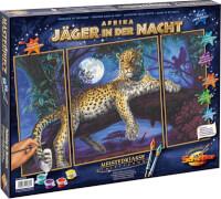 Simba Schipper Malen nach Zahlen - Afrika Jäger in der Nacht (Triptychon) 50 x 80 cm