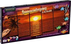 Simba Schipper Malen nach Zahlen - Sonnenuntergang in der Karibik (Polyptychon) 132 x