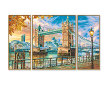 Simba Schipper Malen nach Zahlen - The Tower Bridge in London Triptychon 50x80 cm