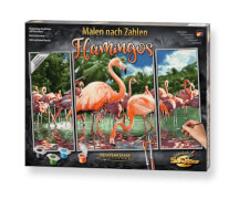 Simba Schipper Malen nach Zahlen Flamingos (Triptychon) 50 x 80 cm