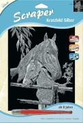 Scraper Silber groß - Pferd Fohlen 20 x 25 cm