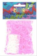 Rainbow Loom Silikon Glitzer pink 300 Stück