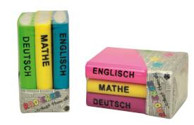 Trendhaus 926838 - Radierer Bücher-Set, 2-fach sortiert, Radiergummi, ca. 2,5x3x4,5 cm, ab 3 Jahren (nicht frei wählbar)