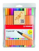 Fineliner - STABILO point 88 - 15er Pack - mit 15 verschiedenen Farben inklusive 5 Neonfarben