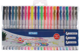 Stylex 24 Gelschreiber mit 8 Metallicfarben, 8 Neonfarben, 8 Glitterfarben