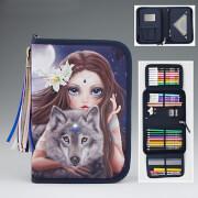Depesche 6420 Fantasy Model Federtasche De Luxe, Bunter Wolf