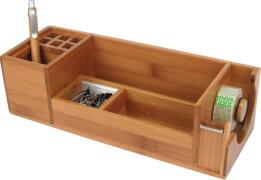Schreibtischständer L mit Klebefilm-Abroller Bambus/Alu