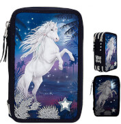 Miss Melody 3-Fach Federtasche LED GLITT