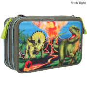 Dino World 3-Fach Federtasche LED