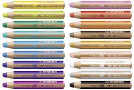 Buntstift, Wasserfarbe & Wachsmalkreide - STABILO woody 3 in 1 - 18er Pack mit Spitzer und Pinsel - mit 18 verschiedenen