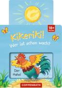 Mini-Pappe mit Schiebern: Kikeriki! Wer ist schon wach?