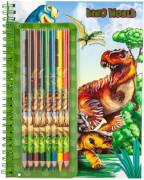 Depesche 6852 Dino World Malbuch mit Buntstiften