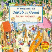 Maxi Pixi 320: Wimmelspaß mit Jakob und Conni: Auf dem Spielplatz sortiert.