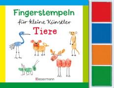 Fingerstempeln für kleine Künstler-Set - Tiere: Mit vier Fingerstempelfarben, Taschenbuch, 64 Seiten, ab 5 Jahren