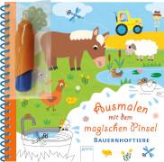 Ausmalen mit dem magischen Pinsel # Bauernhoftiere. Ab 3 Jahre.