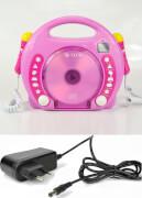 Karaoke CD Player MP3 2 Mikros pink + Netzteil