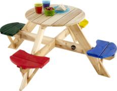 Plum® Kinder Picknicktisch rund mit farbigen Sitzen