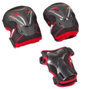 Hudora 83314 - Protektoren-Set Grant, schwarz/rot, Größe S, ab 8 Jahren