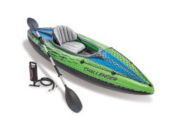 Intex Boot ''Challenger Kayak K1'' Set inkl. Alu-Paddel + Pumpe #68614, bis 100kg, 274x76x33cm