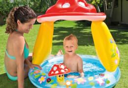 Intex BabyPool ''Mushroom'' mit Sonnenschutz, Wasserbedarf ca 45l, aufblasbarer Boden, 1-3 Jahre, 102x89cm