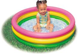 Intex BabyPool 3-Ring ''Sunset Glow'', Wasserbedarf ca 51l, 1-3 Jahre, aufblasbarer Boden, 86x25cm