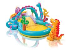 Intex Playcenter ''Dinoland'' mit Sprüher, Rutsche und reichlich Zubehör, Wasserbedarf ca 290 l, Schlauchanschluss, Ablass