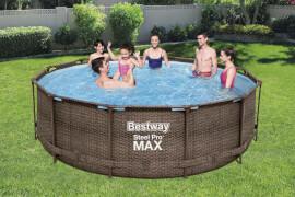 Steel Pro Max#  Frame Pool Komplett-Set, rund, mit Filterpumpe & Sicherheitsleiter 366 x 100 cm