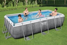 Power Steel# Frame Pool Komplett-Set, eckig, mit Filterpumpe & Sicherheitsleiter 404 x 201 x 100 cm