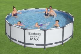 Steel Pro Max# Frame Pool Komplett-Set, rund, mit Filterpumpe, Sicherheitsleiter & Abdeckplane 427 x 107 cm