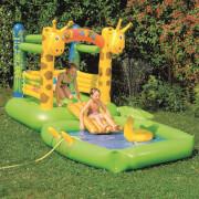 Hüpfburg + Pool Giraffe mit Sprühfunktion