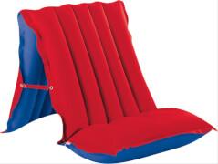 Sitz - Liege - Matratze rot / blau, ca. 196 x 72 cm, gummiertes Baumwoll -  Gewe