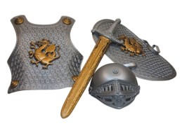Mittelalter Ritter Kinderkostüm-Set grau-gold Einheitsgröße