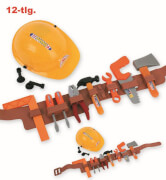 Bauarbeiter-Set, 12-tlg. (Helm, Guertel mit 10 Werkzeugen)