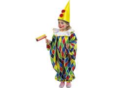 Clown-Overall mit angenähter Halskrause bunt 92
