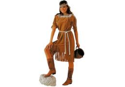 Indianerin: Kleid und Kordel braun 38/40