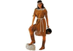 Indianerin: Kleid und Kordel braun 42/44