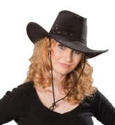Kostüm Cowboyhut Wildlederoptik schwarz schw. S, Karneval