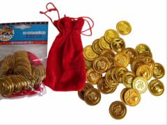 Goldmuenzen im Stoffbeutel