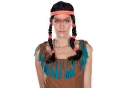 Indianer-Peruecke 2Zoepfe, Kostüm Zubehör