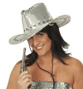 Pailletten-Cowboyhut silber silber STD