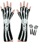 Handschuhe Skelett, halbe Finger, ca. 32 cm Laenge