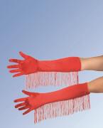 Satin-Handschuhe mit Fransen, ca. 45 cm, rot