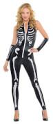 Damenkostüm Skelett-Catsuit Größe L