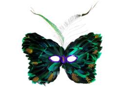 Augenmaske aus Federn, grün