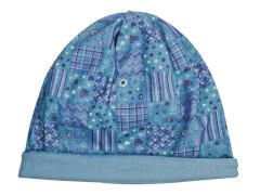 Mütze Patchwork/uni blau (4)