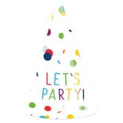 8 Partyhütchen Confetti Birthday Papier Höhe 16 cm