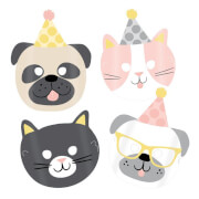 8 Masken Hello Pets Papier 16,7 x 23,2 cm