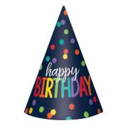 12 Partyhütchen Birthday Accessories Regenbogen-farbig Papie