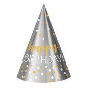 12 Partyhütchen Birthday Accessories Silber & Gold Folie / Papier