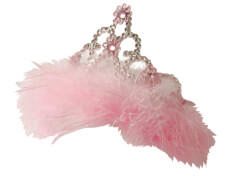 Rubies Prinzessinnen-Blumendiadem mit Marabufedern pink für Kinder